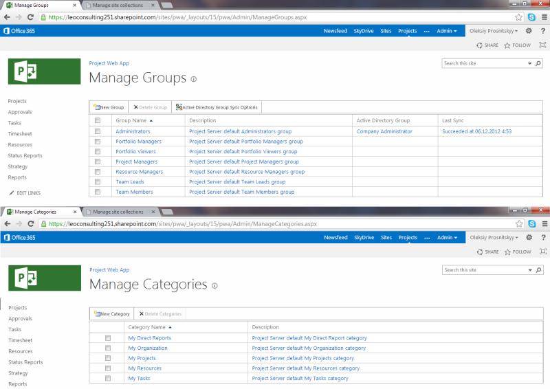 pic3 pwa serversettings projectsecuritymode groupscategories